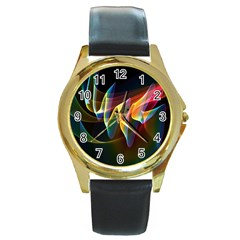 Northern Lights, Abstract Rainbow Aurora Round Leather Watch (gold Rim)