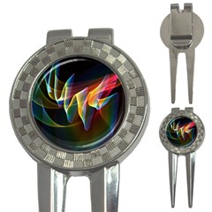 Northern Lights, Abstract Rainbow Aurora Golf Pitchfork & Ball Marker