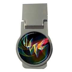 Northern Lights, Abstract Rainbow Aurora Money Clip (Round)
