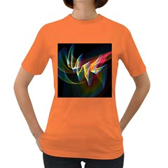Northern Lights, Abstract Rainbow Aurora Women s T-shirt (Colored)