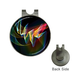 Northern Lights, Abstract Rainbow Aurora Hat Clip with Golf Ball Marker