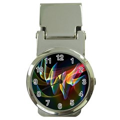 Northern Lights, Abstract Rainbow Aurora Money Clip with Watch