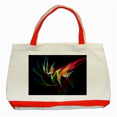 Northern Lights, Abstract Rainbow Aurora Classic Tote Bag (Red)