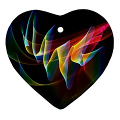 Northern Lights, Abstract Rainbow Aurora Heart Ornament (Two Sides)