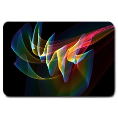 Northern Lights, Abstract Rainbow Aurora Large Door Mat