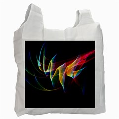 Northern Lights, Abstract Rainbow Aurora White Reusable Bag (Two Sides)