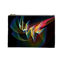 Northern Lights, Abstract Rainbow Aurora Cosmetic Bag (Large)