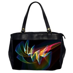 Northern Lights, Abstract Rainbow Aurora Oversize Office Handbag (Two Sides)