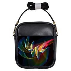 Northern Lights, Abstract Rainbow Aurora Girl s Sling Bag