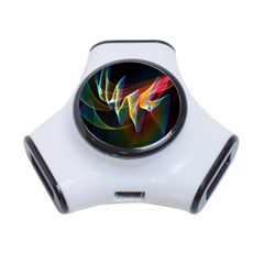 Northern Lights, Abstract Rainbow Aurora 3 Port USB Hub