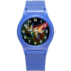 Northern Lights, Abstract Rainbow Aurora Plastic Sport Watch (small)