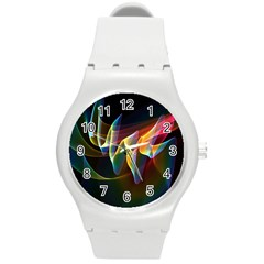 Northern Lights, Abstract Rainbow Aurora Plastic Sport Watch (medium)