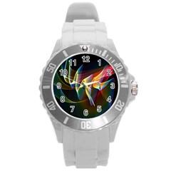 Northern Lights, Abstract Rainbow Aurora Plastic Sport Watch (large)