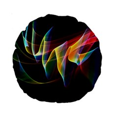 Northern Lights, Abstract Rainbow Aurora 15  Premium Round Cushion