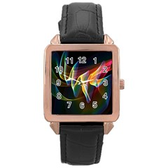 Northern Lights, Abstract Rainbow Aurora Rose Gold Leather Watch