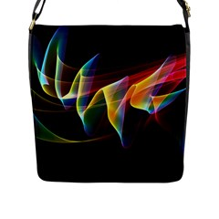 Northern Lights, Abstract Rainbow Aurora Flap Closure Messenger Bag (Large)