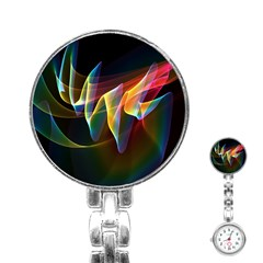 Northern Lights, Abstract Rainbow Aurora Stainless Steel Nurses Watch