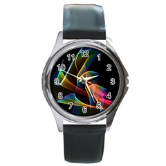 Crystal Rainbow, Abstract Winds Of Love  Round Leather Watch (Silver Rim)