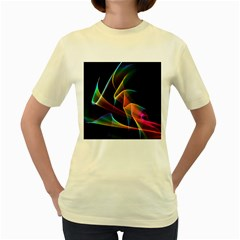 Crystal Rainbow, Abstract Winds Of Love  Women s T-shirt (Yellow)