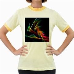 Crystal Rainbow, Abstract Winds Of Love  Women s Ringer T-shirt (Colored)