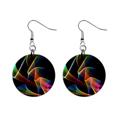 Crystal Rainbow, Abstract Winds Of Love  Mini Button Earrings
