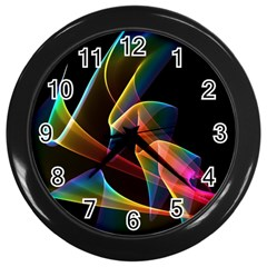 Crystal Rainbow, Abstract Winds Of Love  Wall Clock (black)