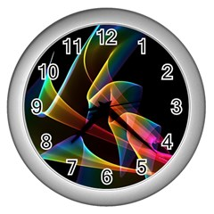 Crystal Rainbow, Abstract Winds Of Love  Wall Clock (silver)