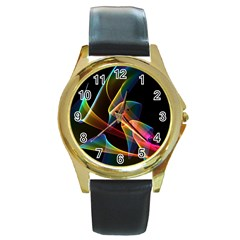 Crystal Rainbow, Abstract Winds Of Love  Round Leather Watch (Gold Rim)