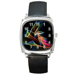 Crystal Rainbow, Abstract Winds Of Love  Square Leather Watch