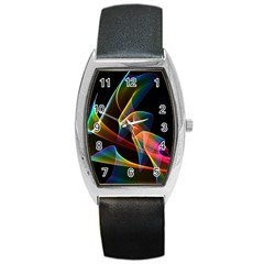 Crystal Rainbow, Abstract Winds Of Love  Tonneau Leather Watch