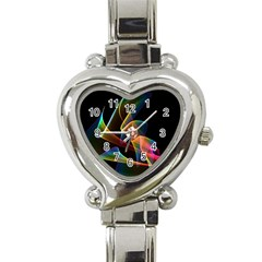 Crystal Rainbow, Abstract Winds Of Love  Heart Italian Charm Watch
