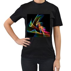 Crystal Rainbow, Abstract Winds Of Love  Women s Two Sided T-shirt (Black)