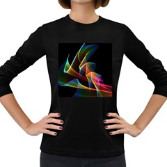 Crystal Rainbow, Abstract Winds Of Love  Women s Long Sleeve T Shirt (dark Colored)