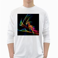 Crystal Rainbow, Abstract Winds Of Love  Men s Long Sleeve T-shirt (White)