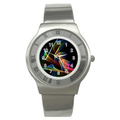 Crystal Rainbow, Abstract Winds Of Love  Stainless Steel Watch (Slim)