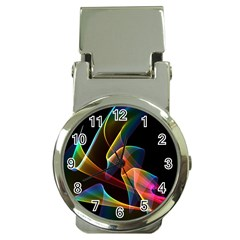 Crystal Rainbow, Abstract Winds Of Love  Money Clip with Watch