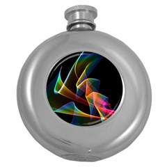 Crystal Rainbow, Abstract Winds Of Love  Hip Flask (Round)