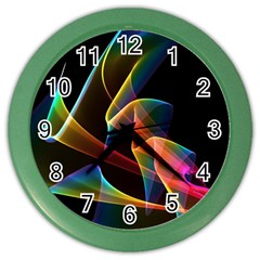 Crystal Rainbow, Abstract Winds Of Love  Wall Clock (Color)