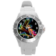 Crystal Rainbow, Abstract Winds Of Love  Plastic Sport Watch (Large)