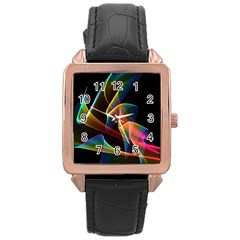 Crystal Rainbow, Abstract Winds Of Love  Rose Gold Leather Watch