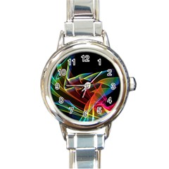 Dancing Northern Lights, Abstract Summer Sky  Round Italian Charm Watch