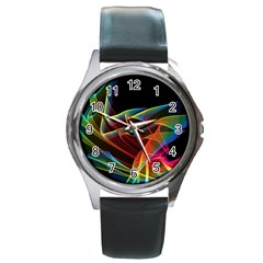 Dancing Northern Lights, Abstract Summer Sky  Round Leather Watch (silver Rim)