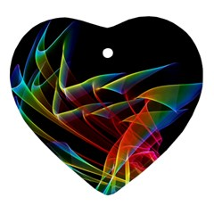 Dancing Northern Lights, Abstract Summer Sky  Heart Ornament
