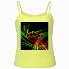 Dancing Northern Lights, Abstract Summer Sky  Yellow Spaghetti Tank