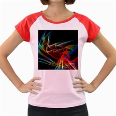 Dancing Northern Lights, Abstract Summer Sky  Women s Cap Sleeve T-Shirt (Colored)