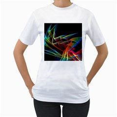 Dancing Northern Lights, Abstract Summer Sky  Women s Two-sided T-shirt (White)