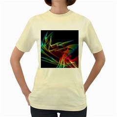 Dancing Northern Lights, Abstract Summer Sky  Women s T-shirt (Yellow)