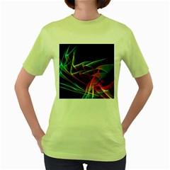Dancing Northern Lights, Abstract Summer Sky  Women s T-shirt (Green)