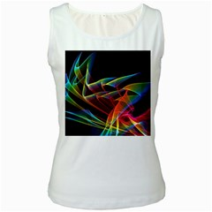 Dancing Northern Lights, Abstract Summer Sky  Women s Tank Top (White)