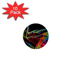 Dancing Northern Lights, Abstract Summer Sky  1  Mini Button Magnet (10 pack)
